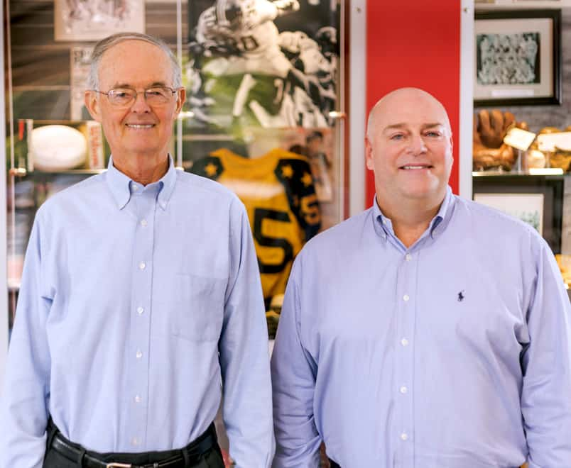 Mickey Newsome (left) with Scott Myers in the Hibbett Store Support Center.