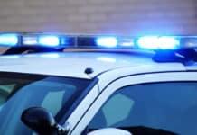 Police car blue lights